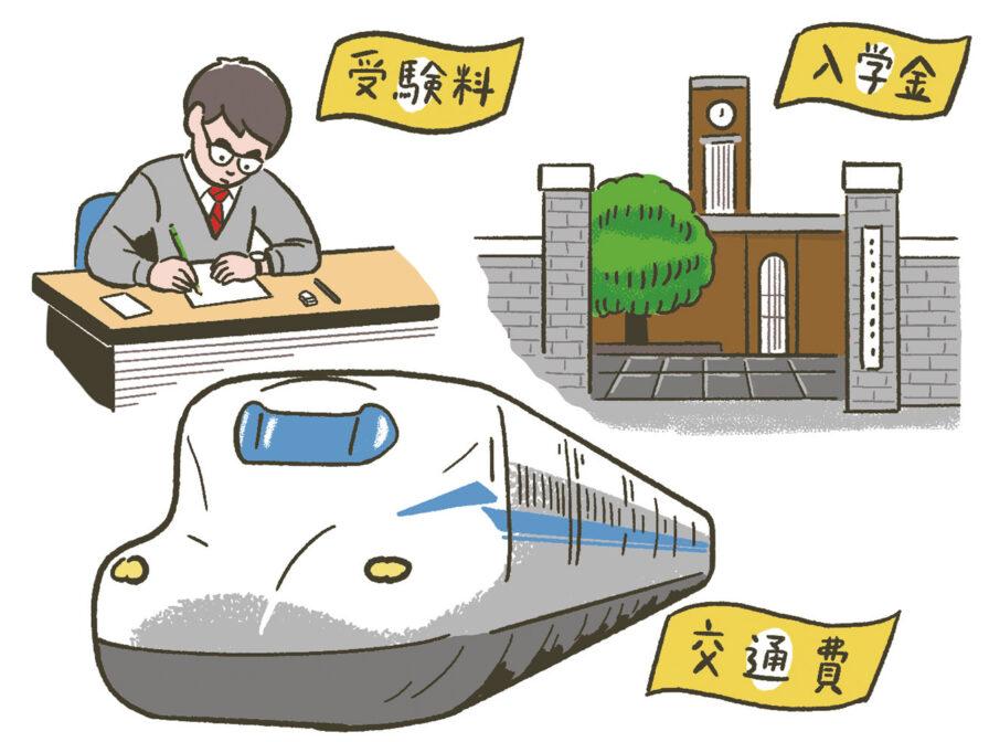 大学入学前には、入学金、受験料、交通費などがかかる
